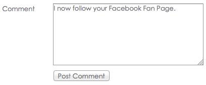 Follow your Facebook Fan Page Comment