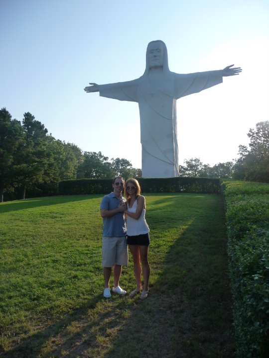Scott and I got engaged at the Christ of the Ozarks Statue