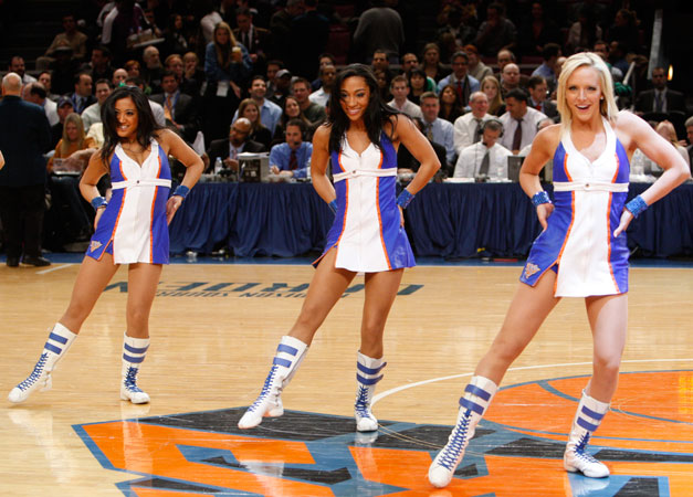 Knicks city dancers on court