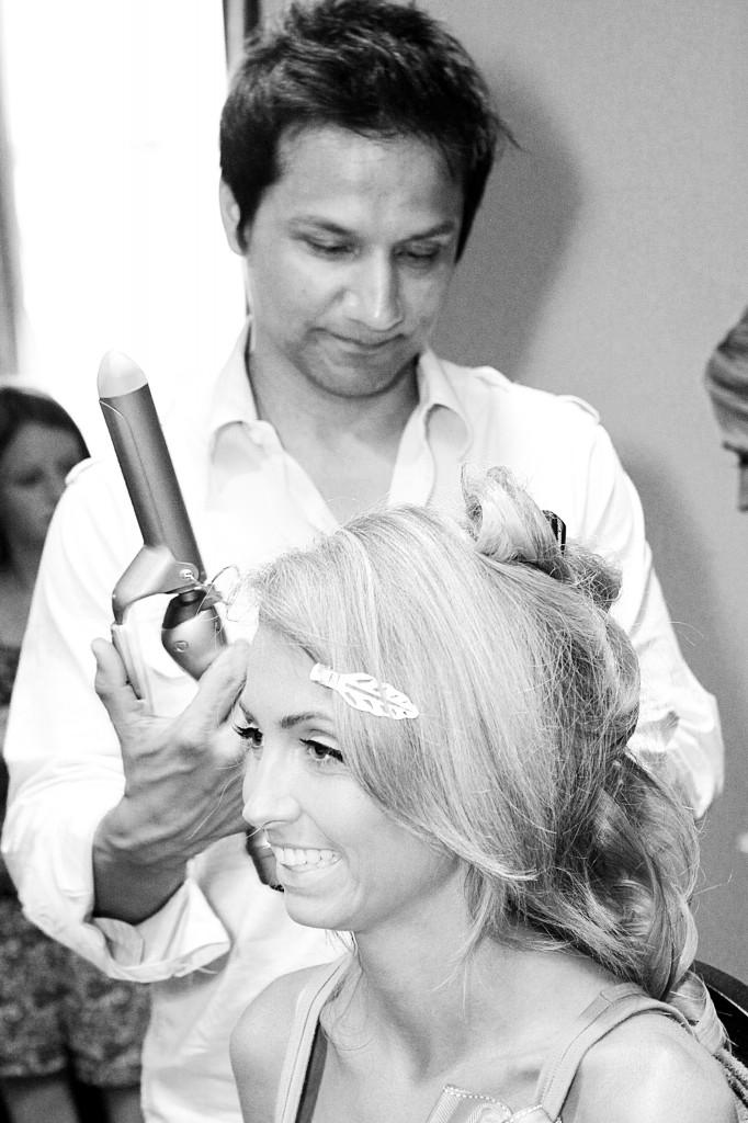 Demarco doing my wedding day hair