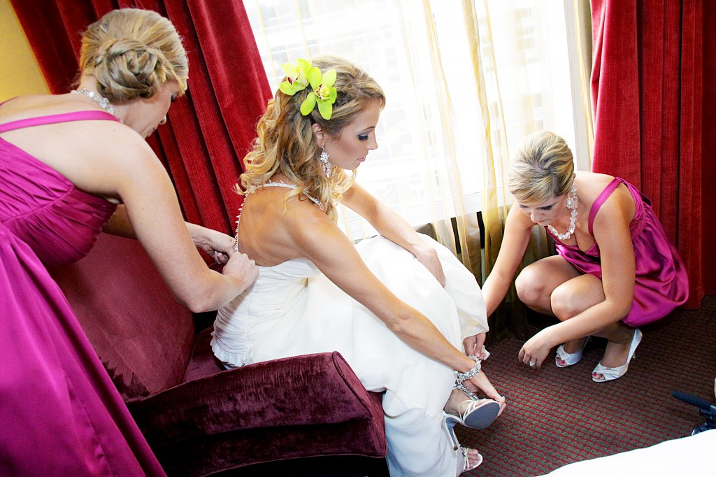 Brittany and Ashley helping me get dressed
