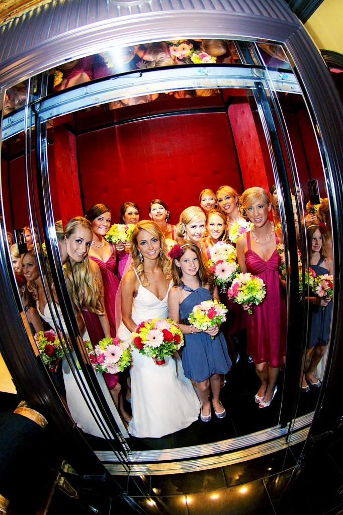 Bridesmaids in elevator at Grand Bohemian