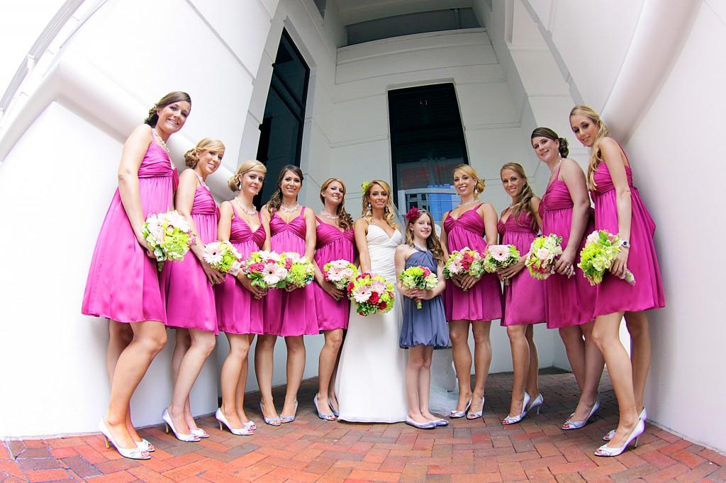 Bridesmaids outside photos