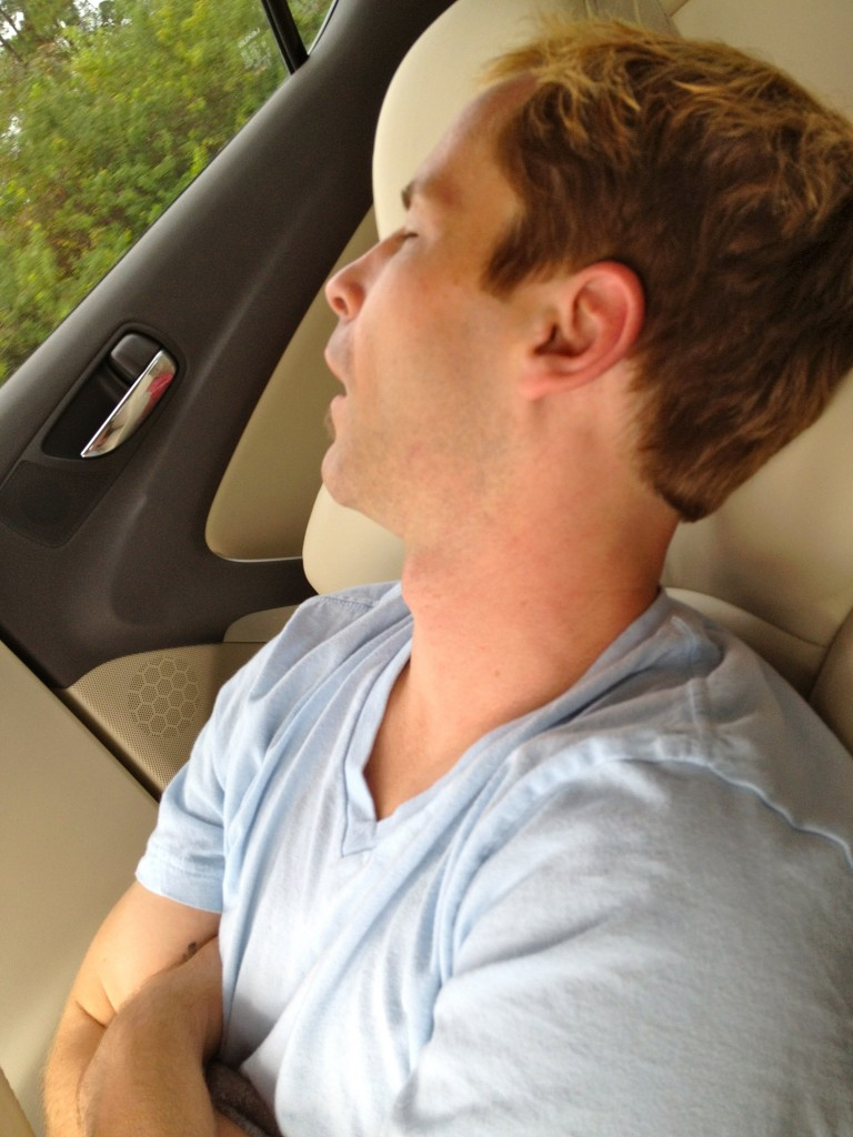 Scott sleeping in car