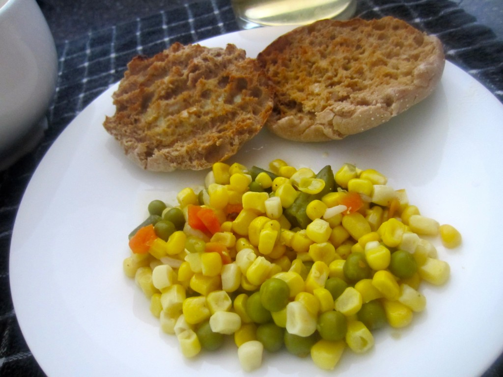 English Muffin and veggies