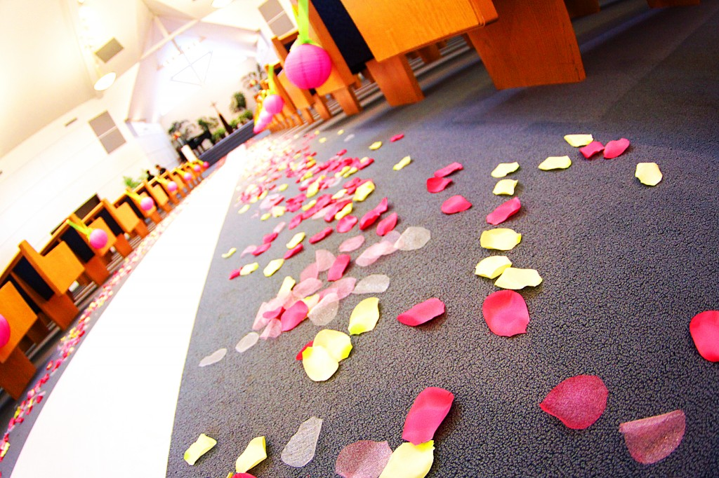 Silk Petals for aisle