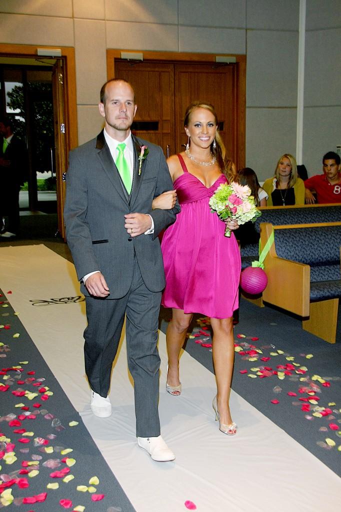 Bridesmaid and Groomsmen walking down aisle