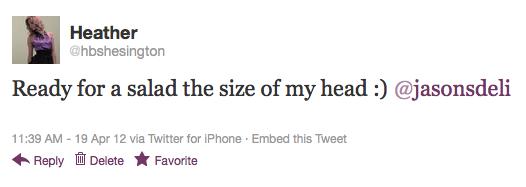 Jasons Deli Tweet