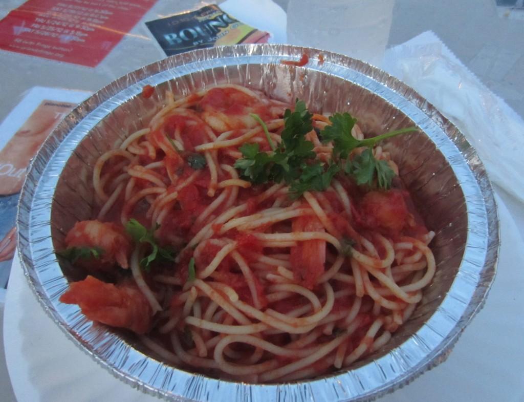 Spaghetti Marinara with Shrimp at Fringe Festival