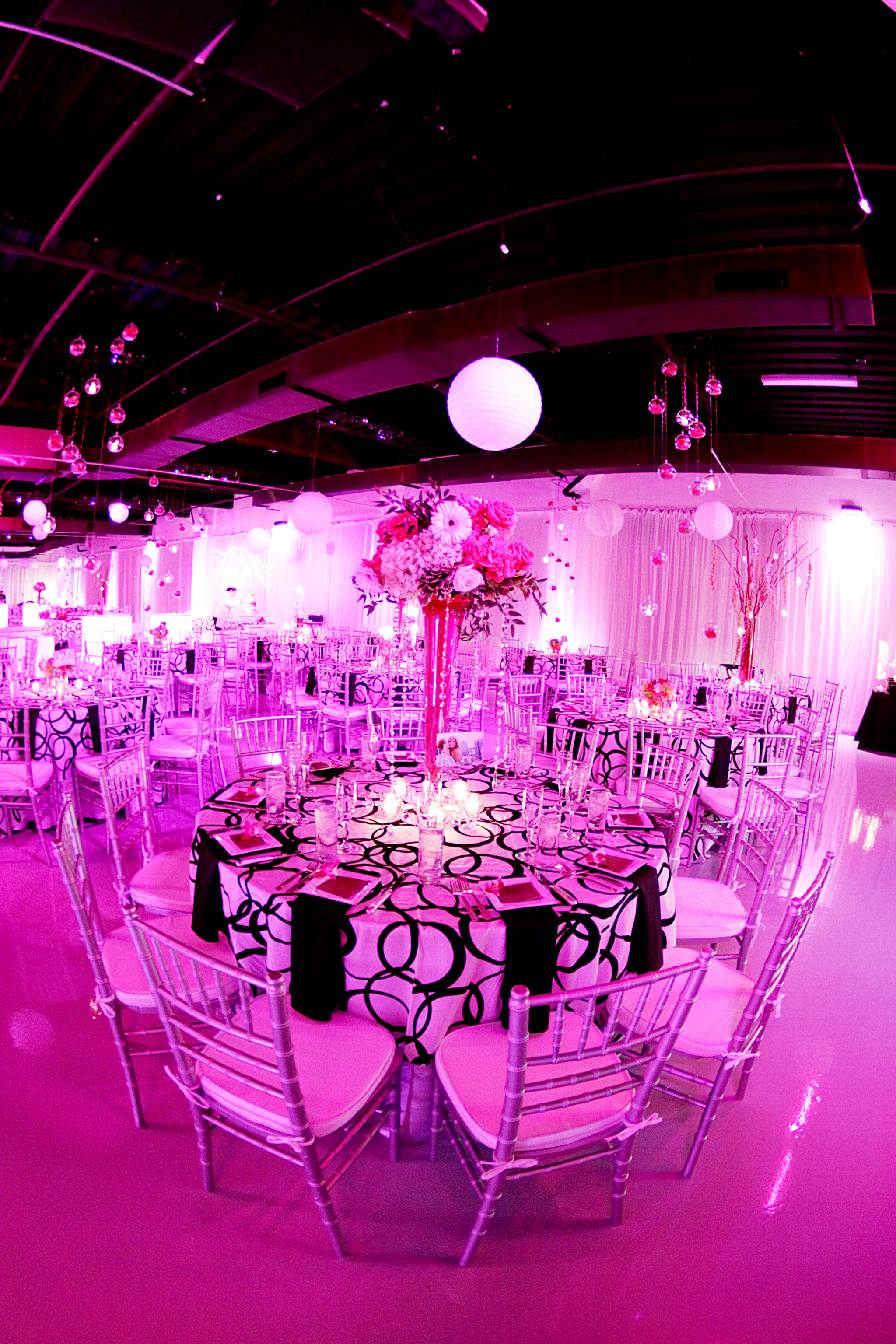 Black White Pink and Green Wedding Reception