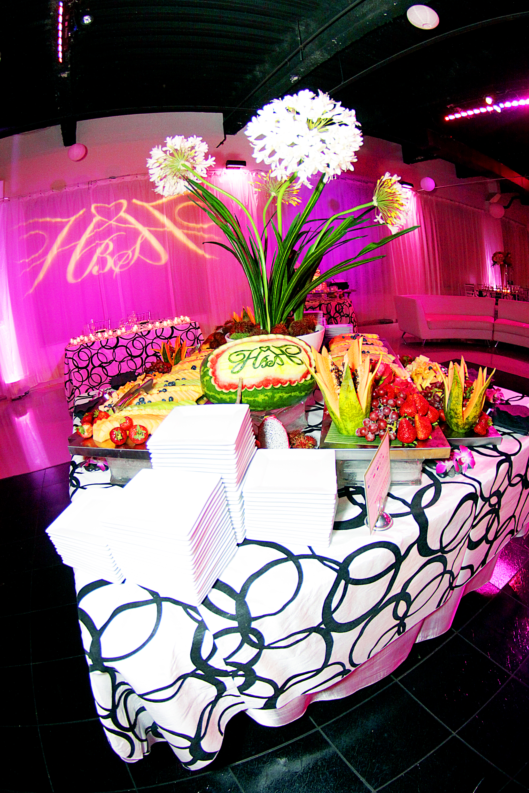 Huge Wedding Fruit Display for cocktail hour