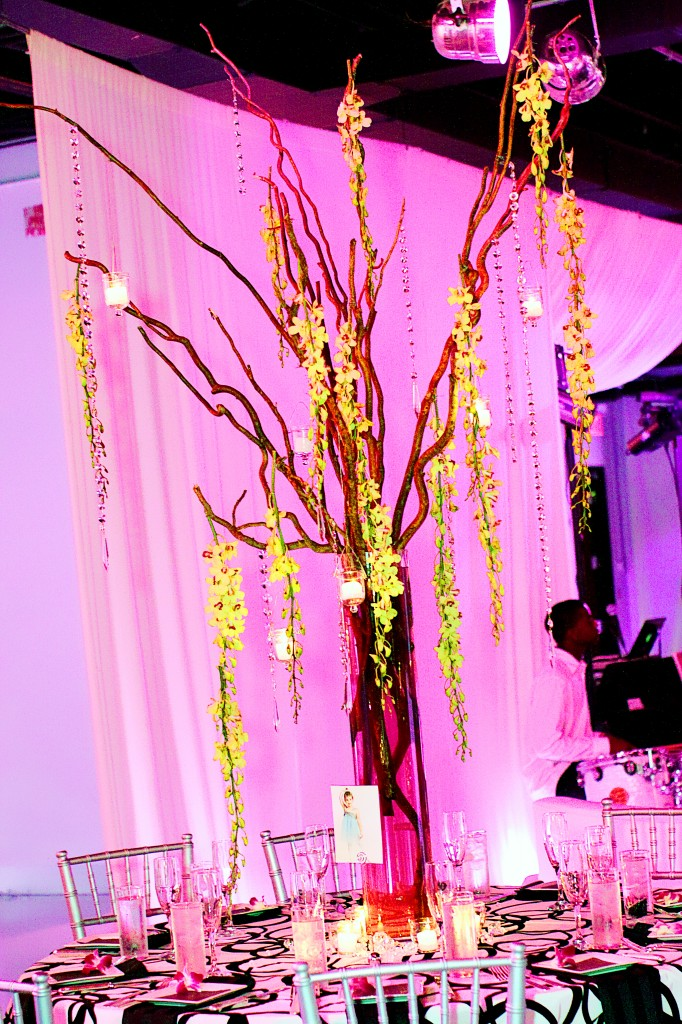 Beautiful dragon tree wedding centerpiece