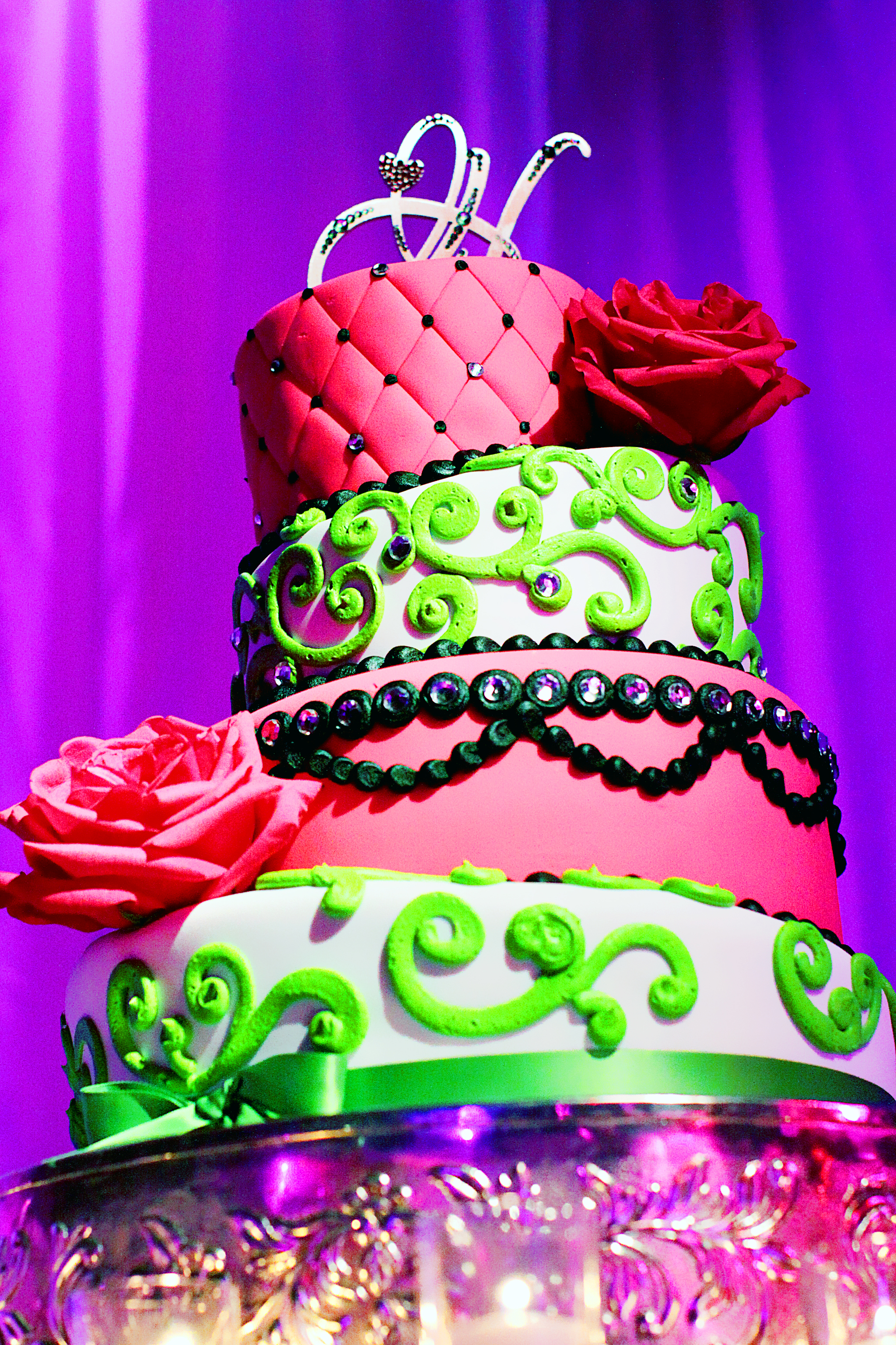 Pink and Green wedding cake