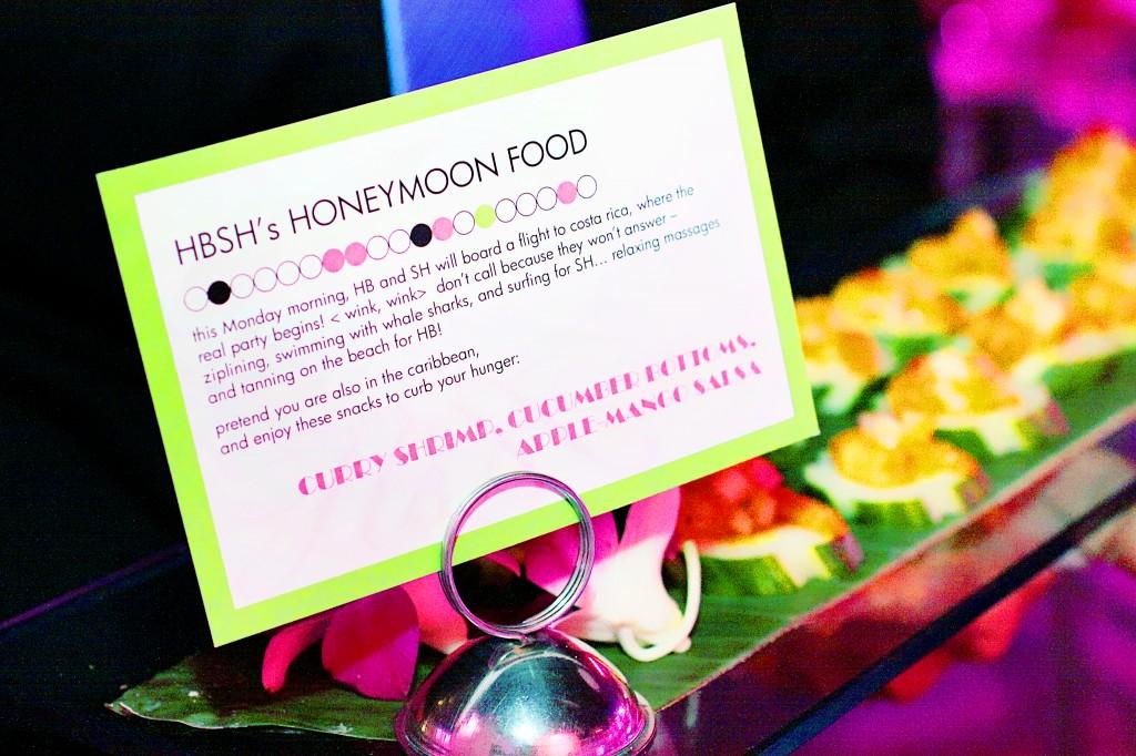 Unique wedding food descriptions