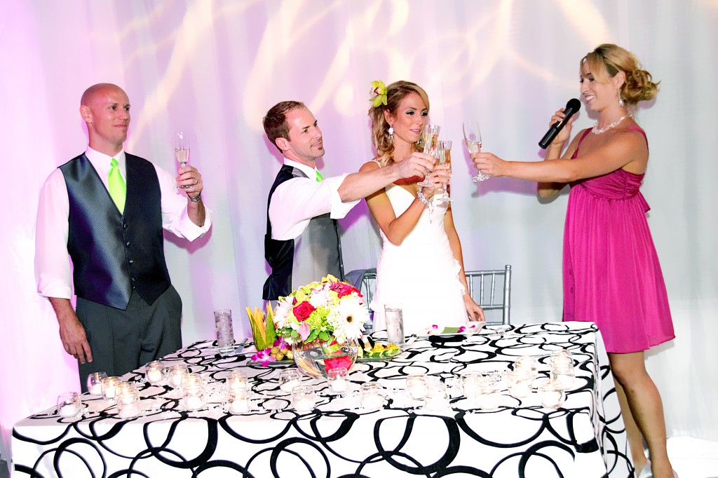 Wedding Reception toast by bridesmaid