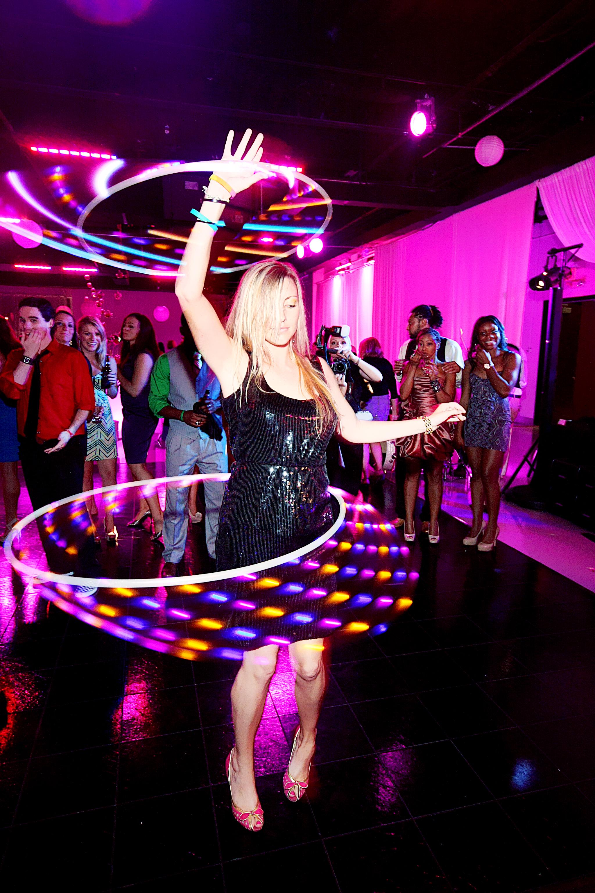 Light Up Hoola Hoops at wedding reception