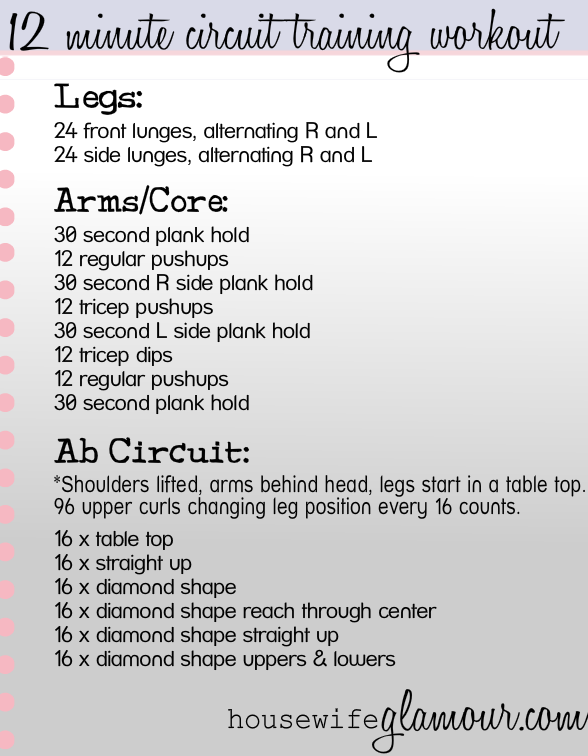 Quick circuit workout - no weights necessary