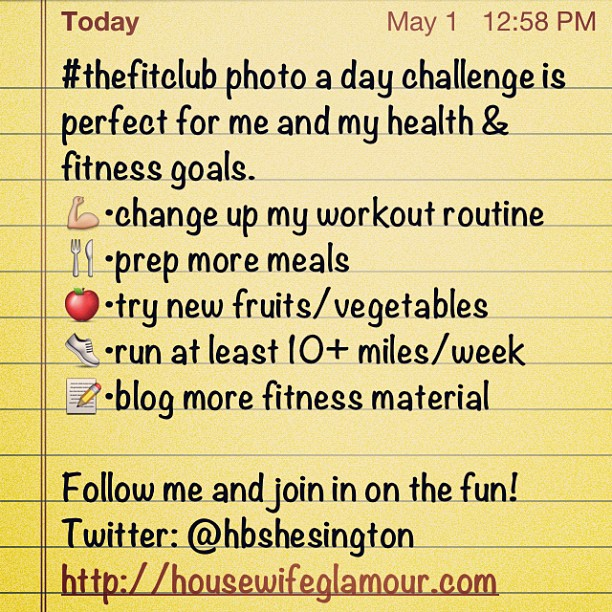 #thefitclub Day 1 photo goal list