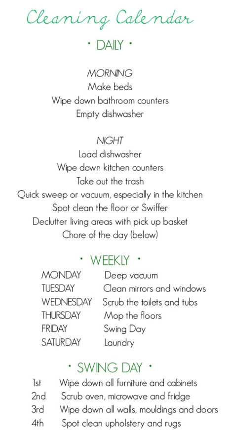 Housework Schedule
