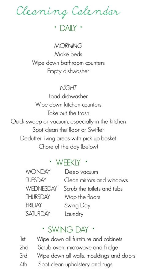 Housework Schedule