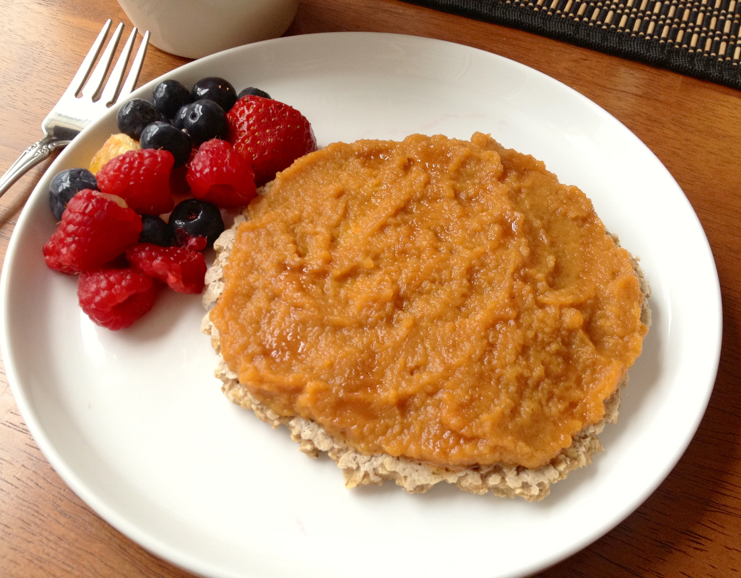 healthy pancake with pumpkin topping