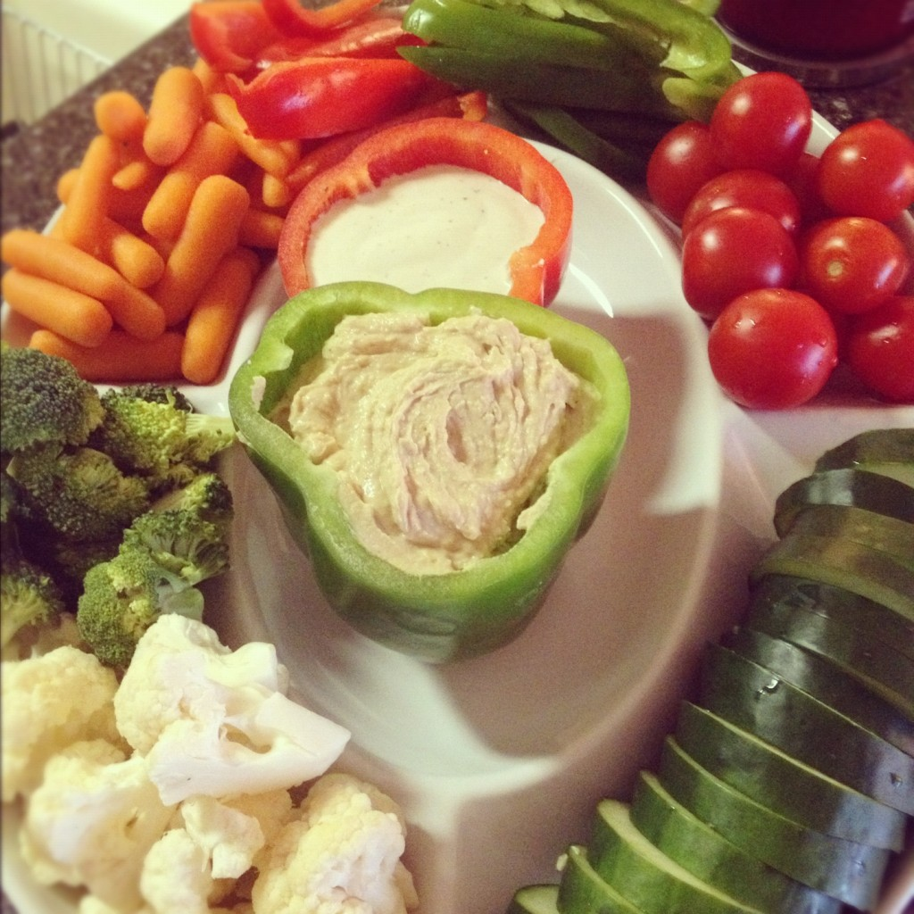 Vegetable Tray with dips in peppers