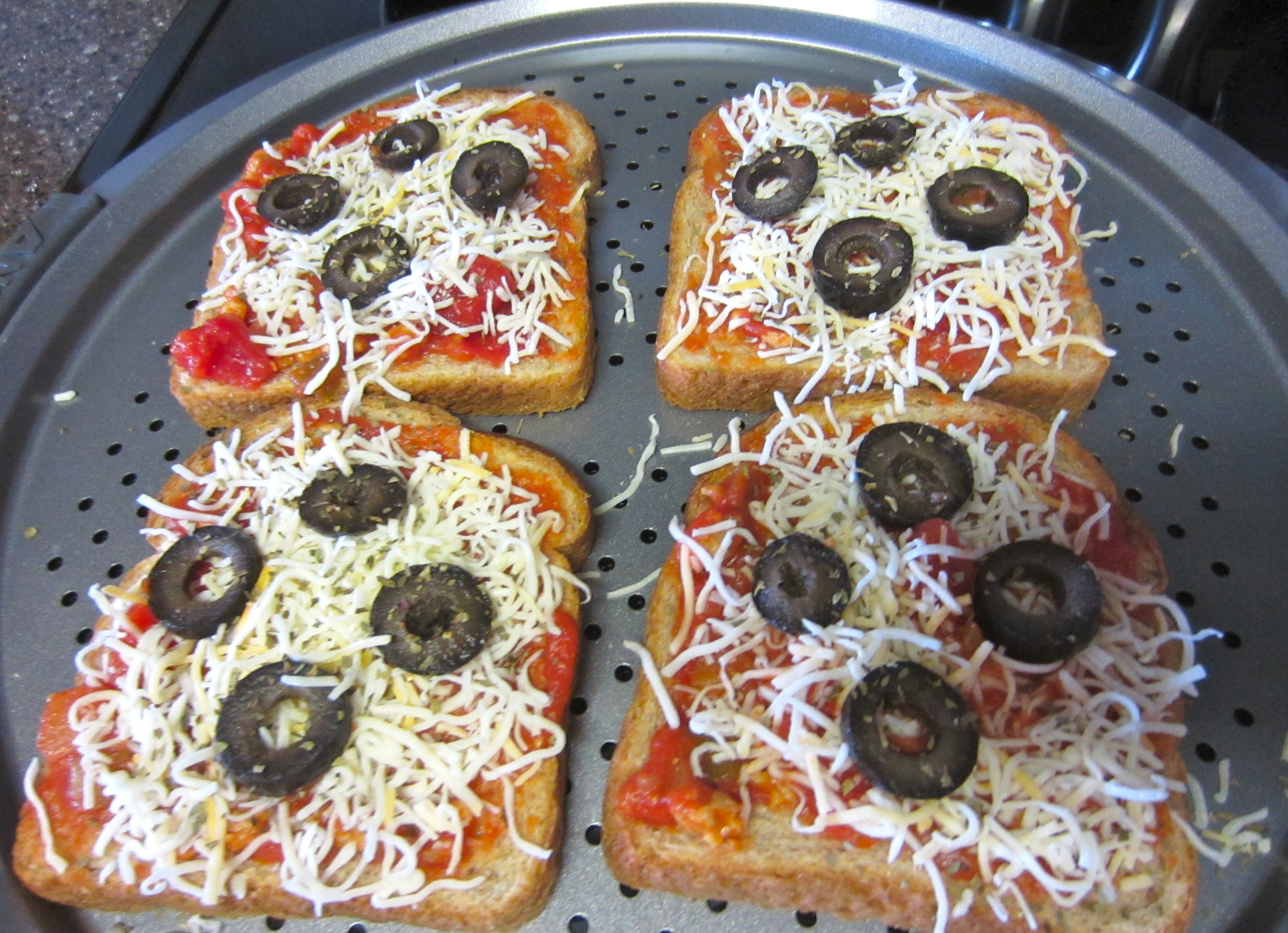 easy pizza toast ready for oven