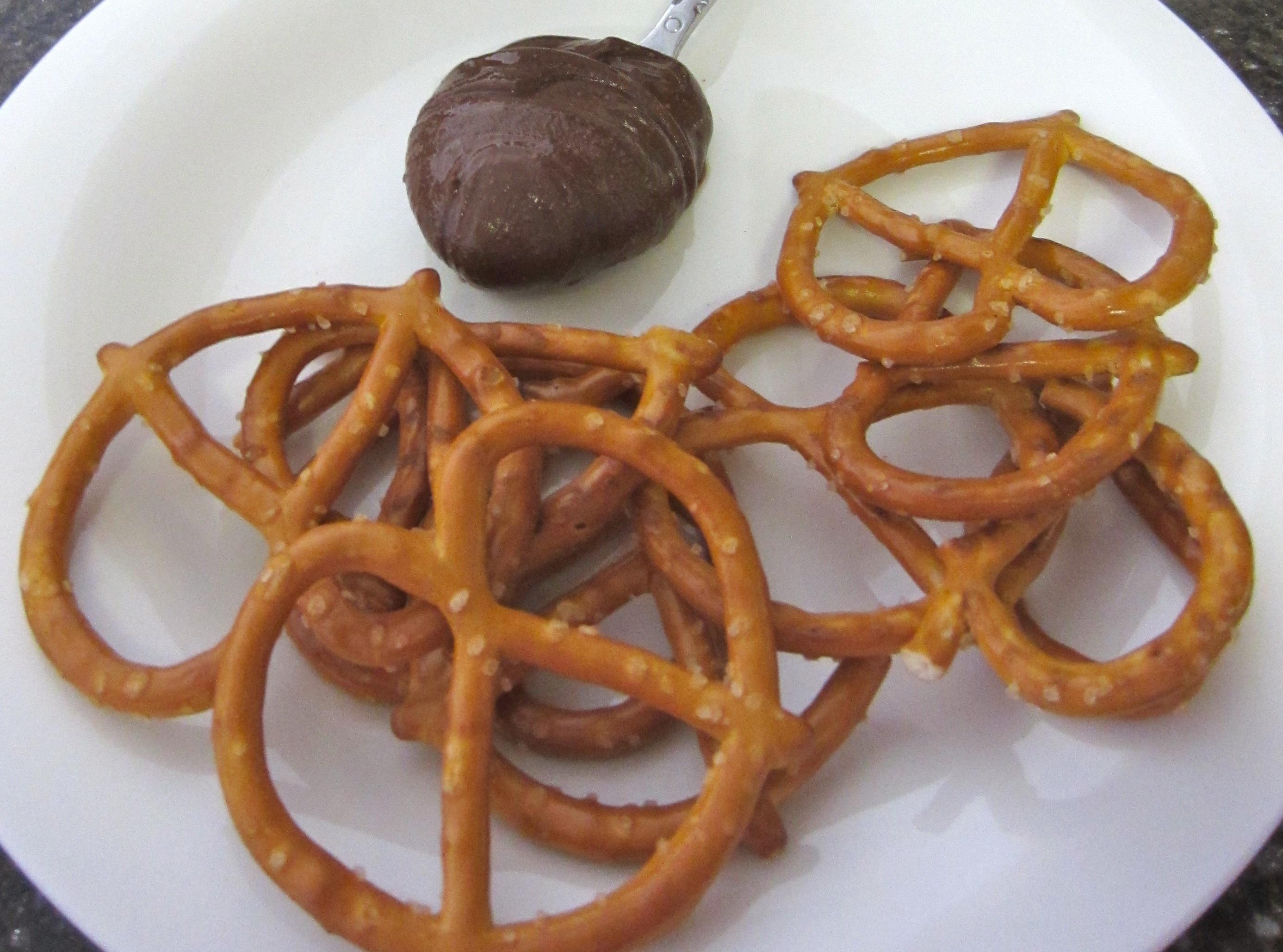 Pretzels and dark chocolate peanut butter