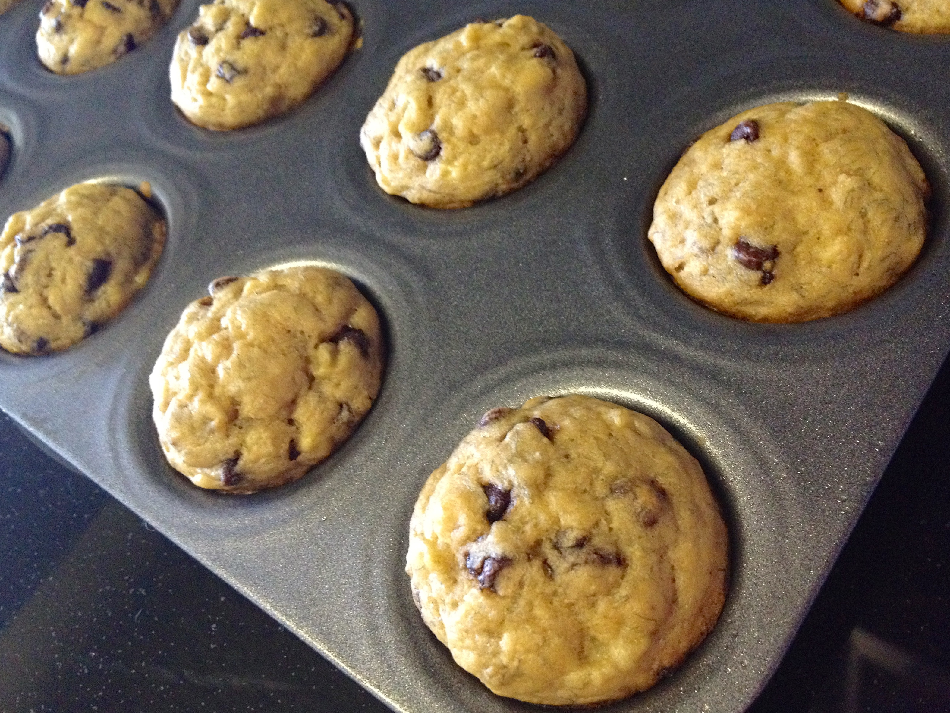 banana mini muffins straight out of oven