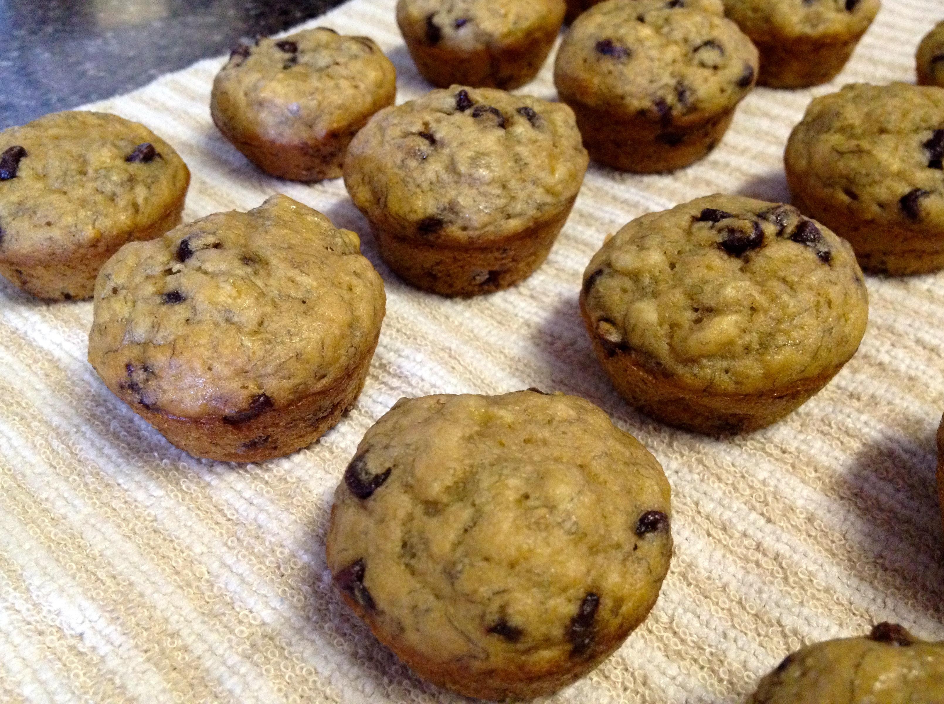 Banana mini muffins with chocolate chips
