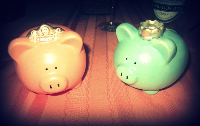 pink and blue piggy banks decoration