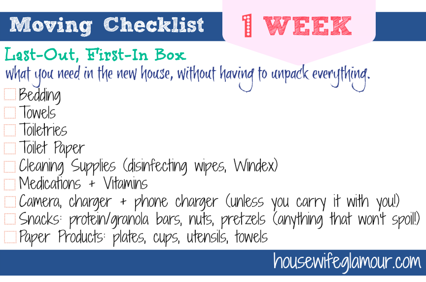 Moving Checklist 1 Week To Go – Moving Checklist
