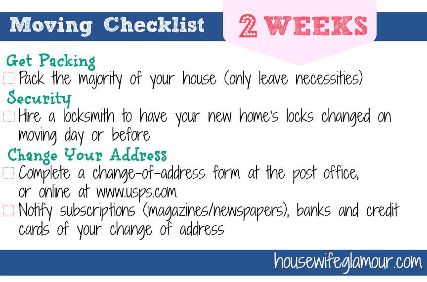 Moving Checklist 2 Weeks