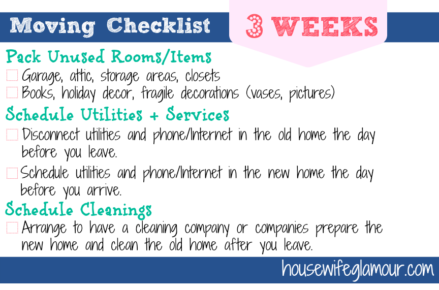 Moving Checklist 3 Weeks To Go