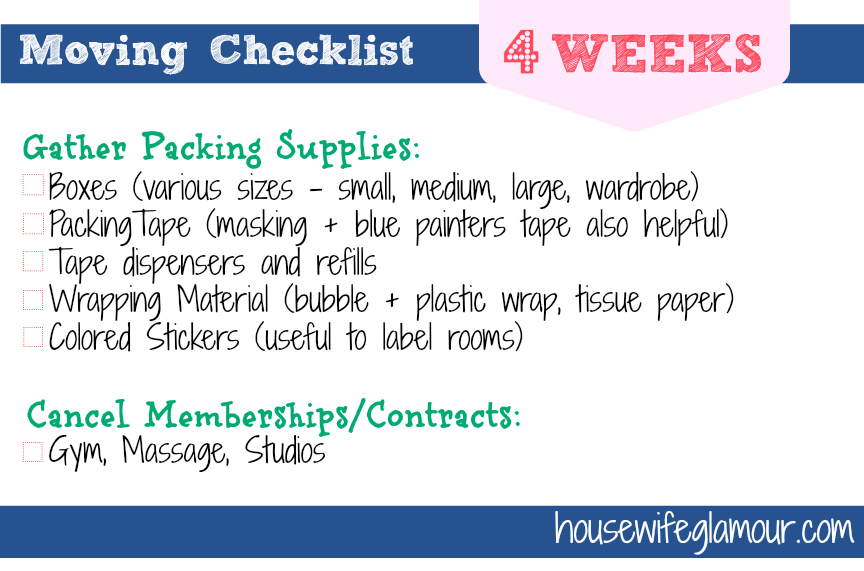 Moving Checklist 4 Weeks Before