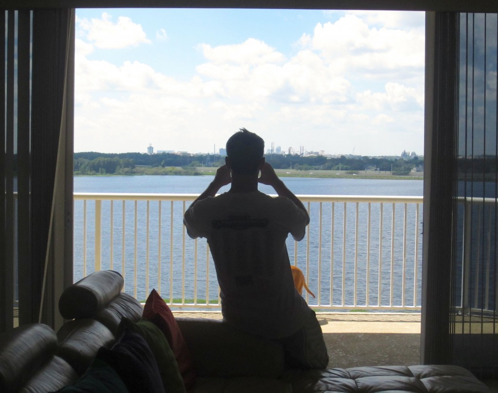 Scott capturing our balcony view