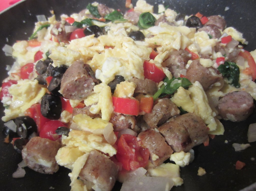 Scrambling Vegetables with eggs