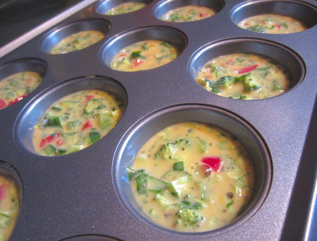 Egg Muffins with Veggies ready for oven
