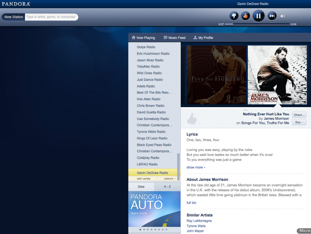 pandora radio favorite stations