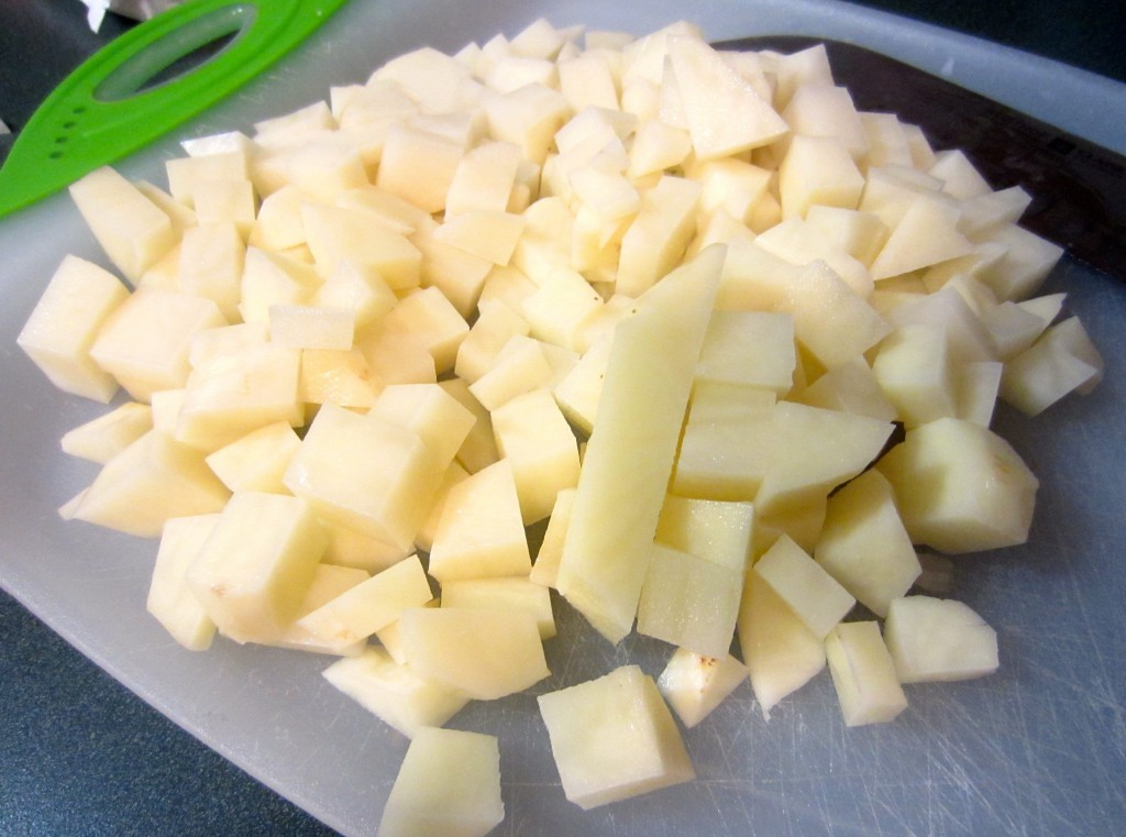 peel and chop potatoes