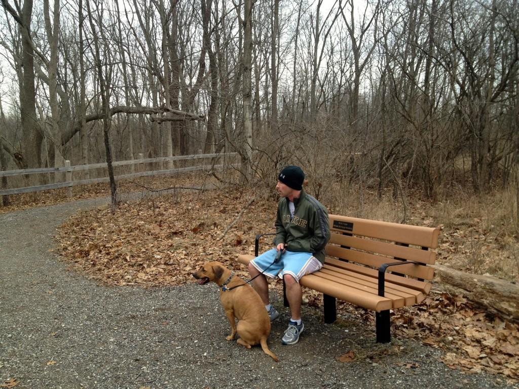 taking a break on trail