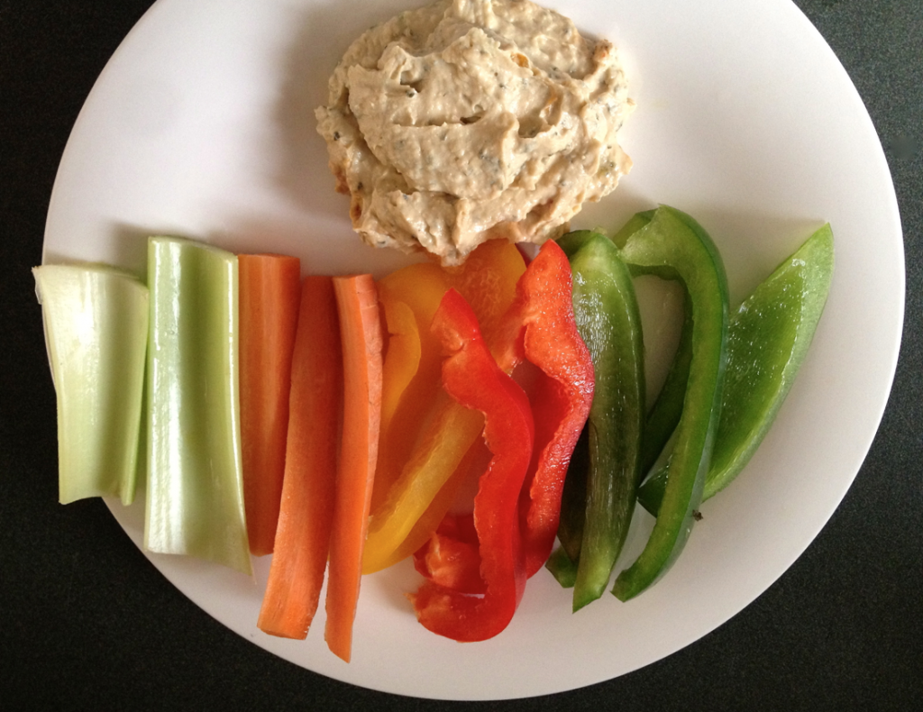 fresh vegetables and hummus