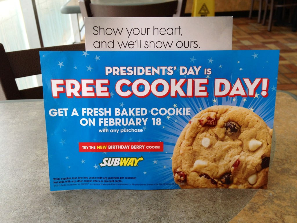 Free cookie day at subway