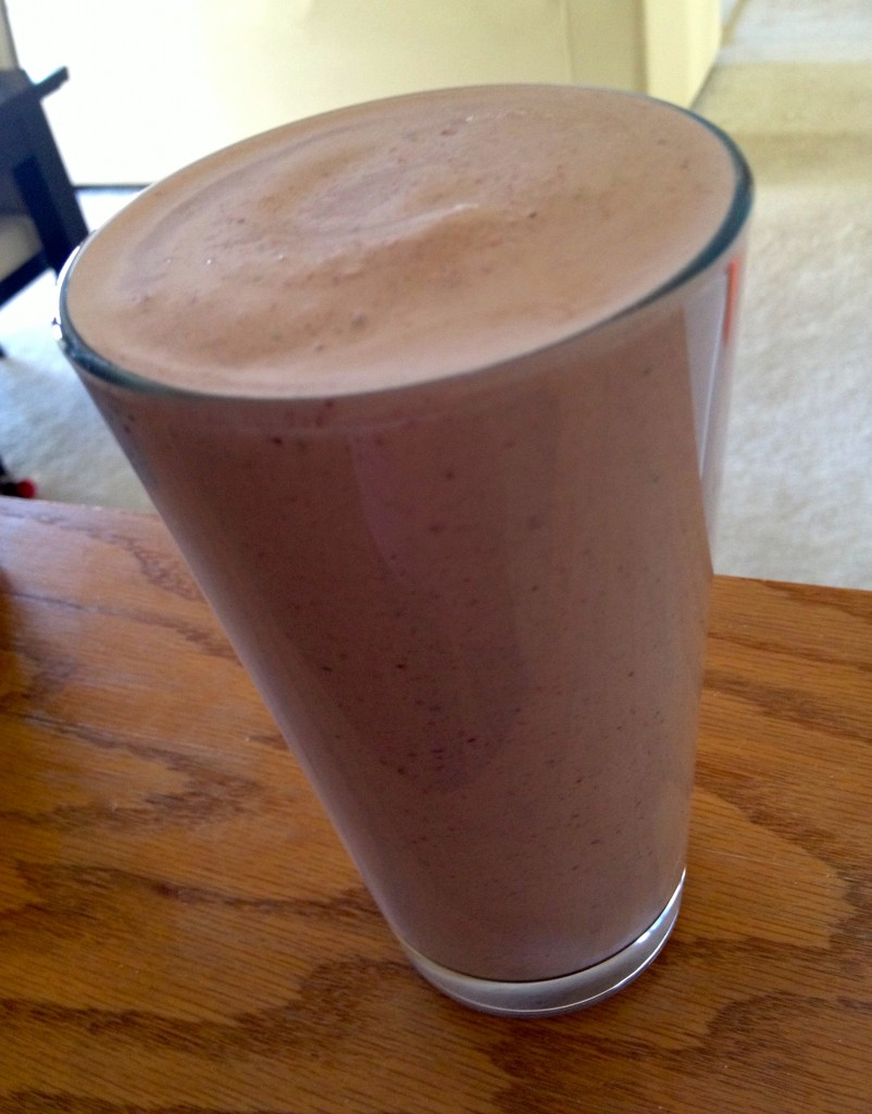 Fruit and Protein smoothie with spinach