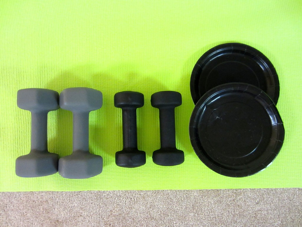 dumbbell weights and sliders at home