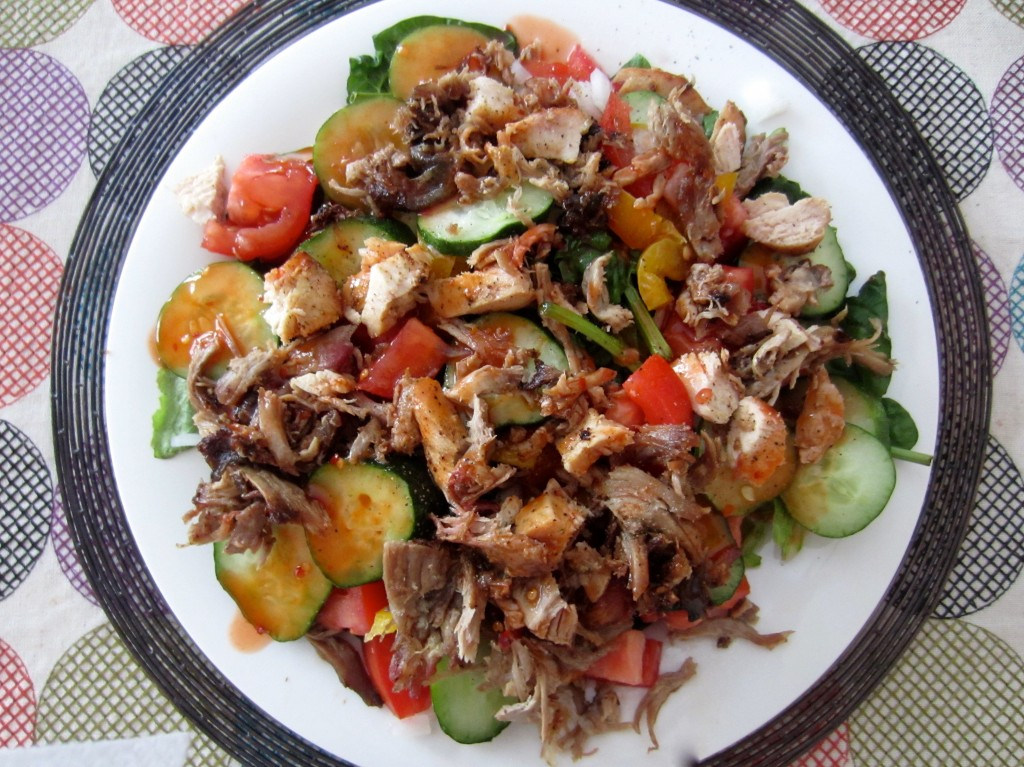 leftover barbeque on salad