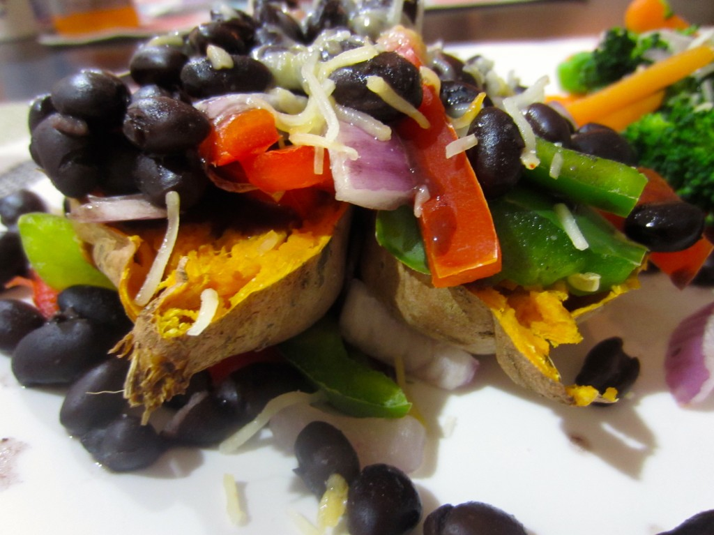 sweet potato with tons of veggies