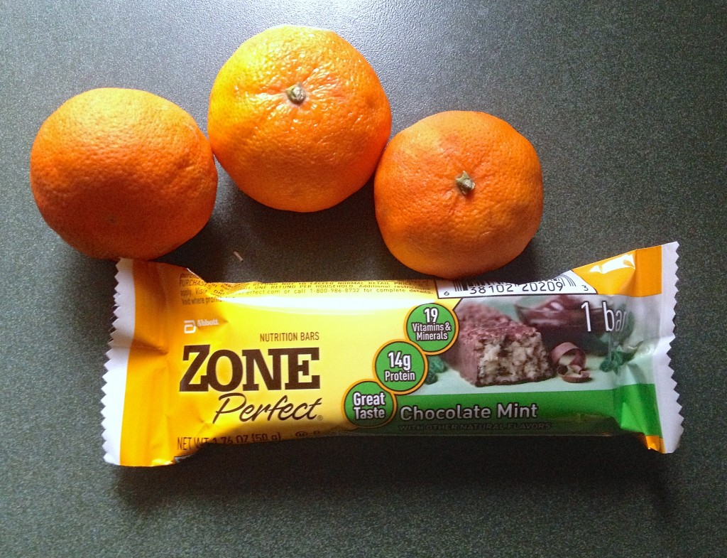 zone perfect protein bar and fruit