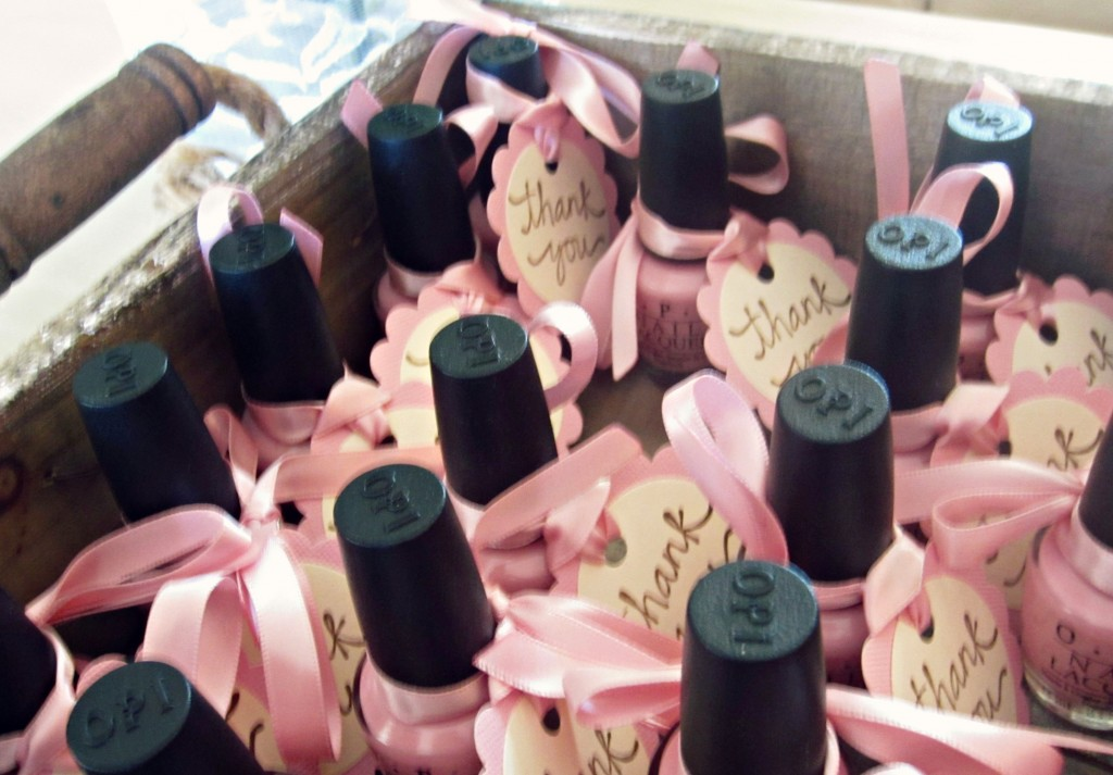Pink Nailpolish for baby shower favor
