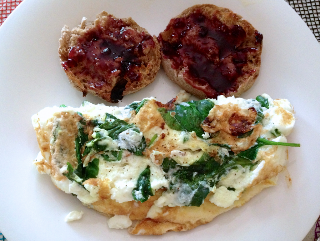 Egg white omelet with spinac
